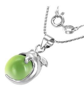 """Delfin halskæde med spinning Jadegrøn Cat eye """"Perle"""""""