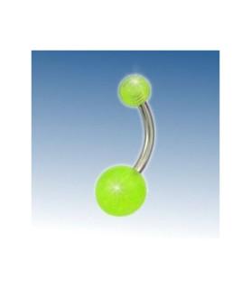 Navle piercing med 2 grønne akryl kugler