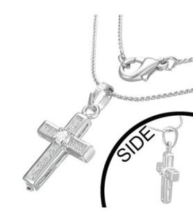 Flot halskæde med kors og CZ