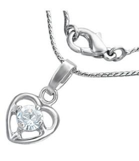 Flot halskæde med sødt hjerte og en enkelt Zirkon.