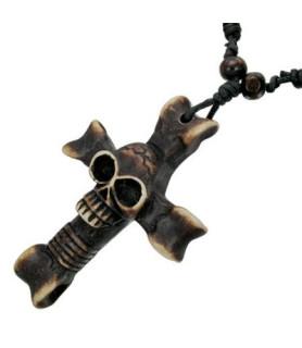 Flot organisk halskæde - Keltisk kors med skull.