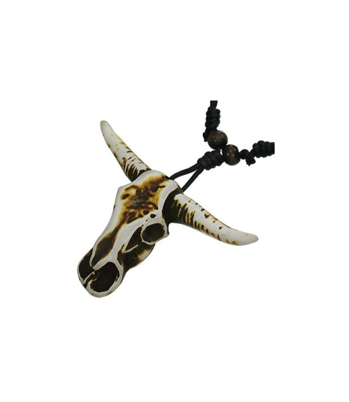 Flot organisk halskæde - Tyre-kranie med horn.