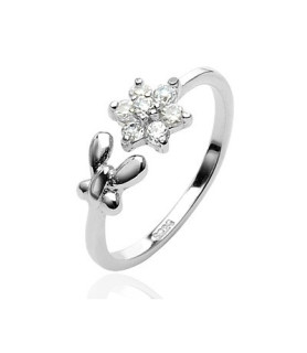 Flot sølv tåring i ægte sølv designet som blomst med klare zirkonia