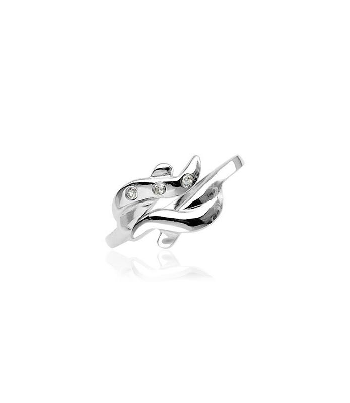Tidløst stilfuldt smykke i wave design besat med Zirconia sten
