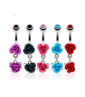 Navlepiercinger med flotte roser 5 farver