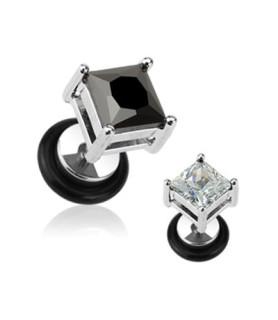 Fake plug - Med stor kvadratisk sort ell. klar krystal