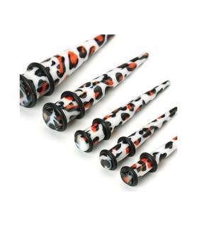 -Taper stretcher  i akryl med leopardmønster