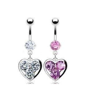 Romantiske navlepiercinger med krystalfyldt hjerte