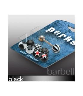 Pakke med 1 Tungepiercing og 8 forskellige sorte kugler