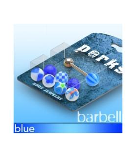Pakke med 1 Tungepiercing og 8 forskellige blå kugler