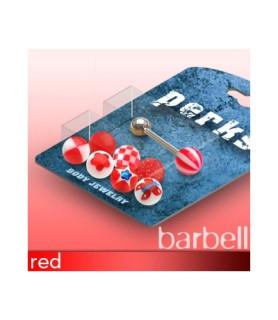 Pakke med 1 Tungepiercing og 8 forskellige Røde kugler