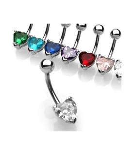Navlepiercinger 6 hotte farver hjerteformet juvel
