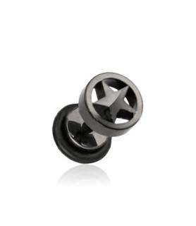 Fake plug piercing Blackline med stjerne