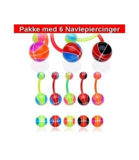 Bioflex Navlepiercinger pakke med 6 stk. - Basketbolde