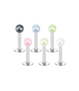 Læbepiercing eller Traguspiercing med imiteret perle G16