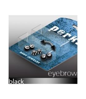 Pakke med 1 øjenbrynspiercing og 8 forskellige Sorte kugler