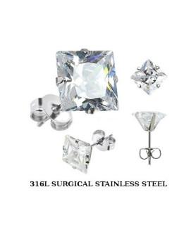 Øresticker kirurgisk stål - kvadratisk Zirconia