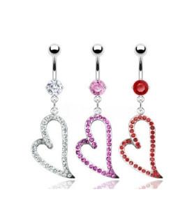 Navlepiercing med vedhæng - Romantisk juvel hjerte