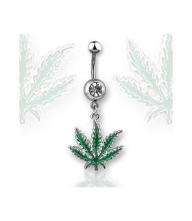 Navlepiercing smykke med grønt Cannabisvedhæng