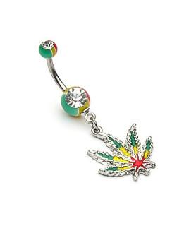 Navlepiercing med regnbue Cannabis vedhæng - Rasta design
