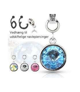 Ad-on-Charm til navlepiercing - Kæmpe krystaller