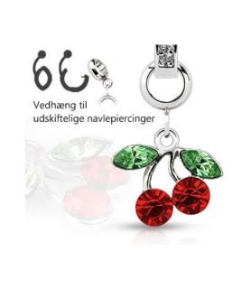 Ad-on-Charm til navlepiercinger - Juvel kirsebær