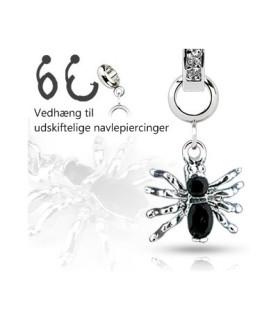 Ad-on-Charm til navlepiercinger - Sort edderkop