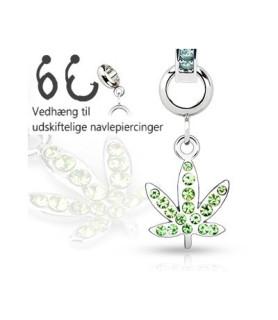 Ad-on-Charm til navlepiercing - Cannabis Blad