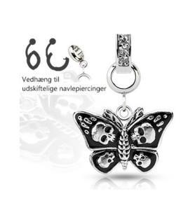 Ad-on-Charm til navlepiercinger - Sommerfugl med dødninghoveder