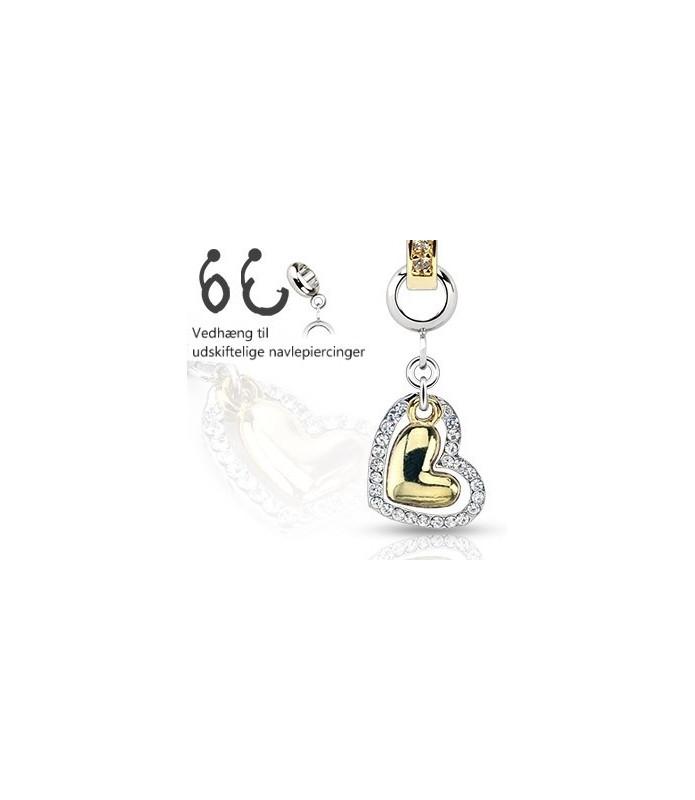 Ad-on-Charm til navlepiercing - Guldbelagt hjerte