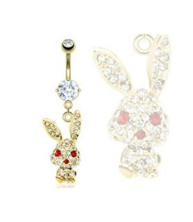 Guldbelagt Navle-smykke med juvelfyldt kanin