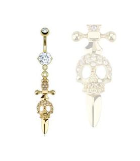 Cool guldbelagt piercing-smykke til navlen - kors, sværd og dødning