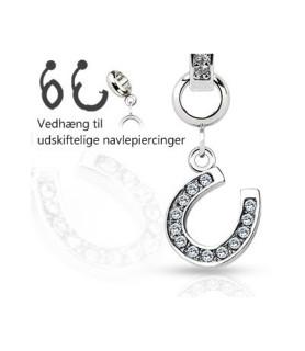 Ad-on-Charm til navlepiercinger - Hestesko med smykkesten