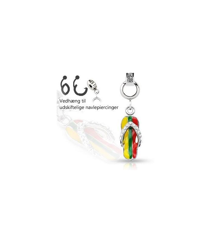 Ad-on-Charm til navlepiercinger - sandal med smykkesten