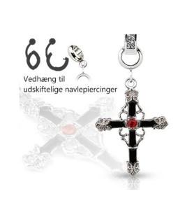 Ad-on-Charm til navlepiercinger - Flot Gothisk Kors