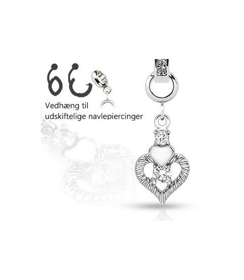 Ad-on-Charm til navlepiercinger - Dobbelt hjerte med smykkesten