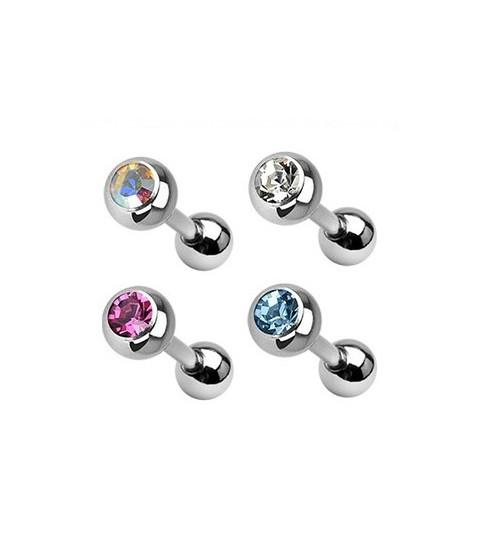 Flot tragus/helix piercingsmykke med krystal