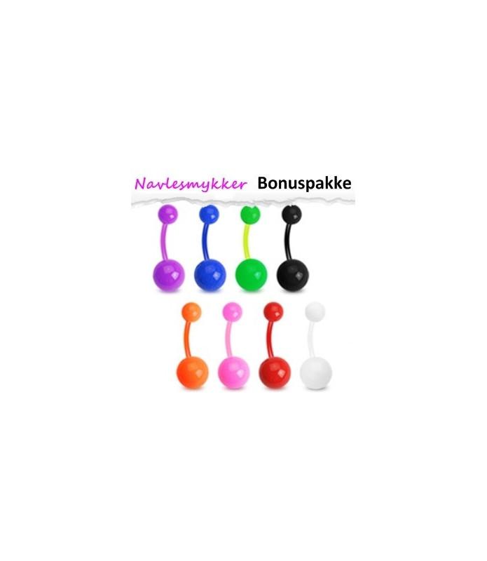 Bioflex Navlepiercinger pakke med 8 stk. - Ensfarvede kugler