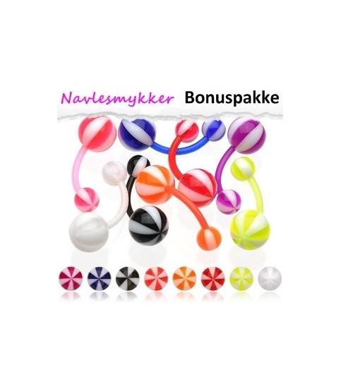 """Bioflex Navlepiercinger pakke med 8 stk. - """"beach ball"""" kugler"""