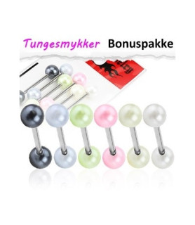 Tungepiercinger med imiterede perler - pakke med 6 stk.