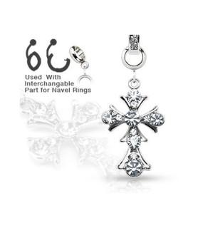 Ad-on-Charm til navlepiercinger - Ornamenteret kors med klare sten