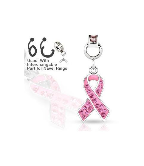"""Ad-on-Charm til  navlepiercinger - """"Awareness"""" pink tørklæde"""