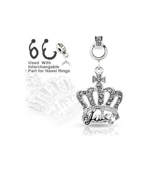Ad-on-Charm til  navlepiercinger - Multi juvelbesat krone