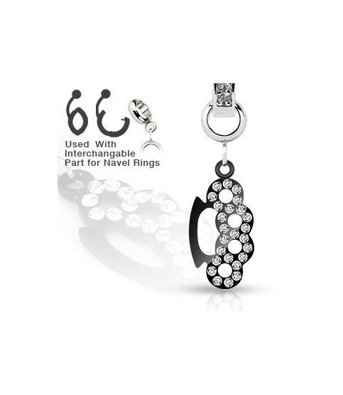 Ad-on-Charm til  navlepiercinger - Multi juvel besat sort knojern