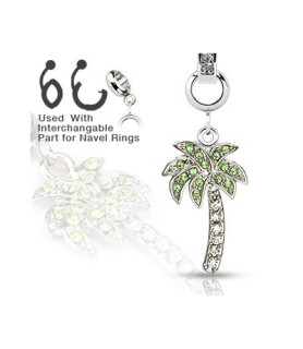 Ad-on-Charm til  navlepiercinger - smukt palmetræ med flotte Zirconia sten