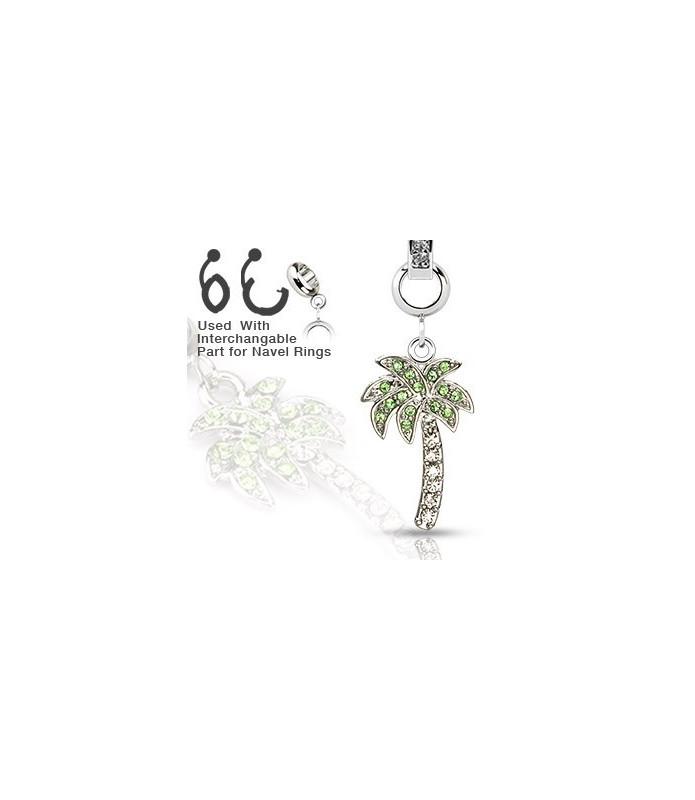 09e672bdf06 Ad-on-Charm til navlepiercinger - smukt palmetræ med flotte Zirconia ...
