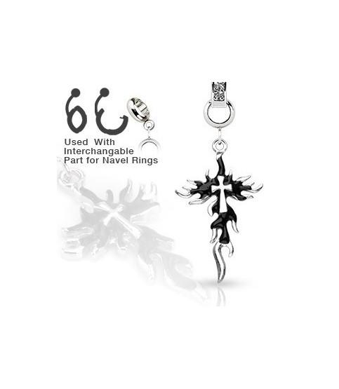 Ad-on-Charm til  navlepiercinger - Flammende kors
