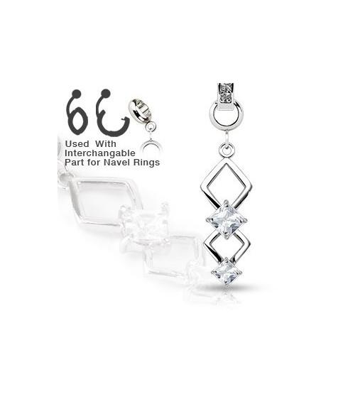 Ad-on-Charm til  navlepiercinger - Smuk double marquise