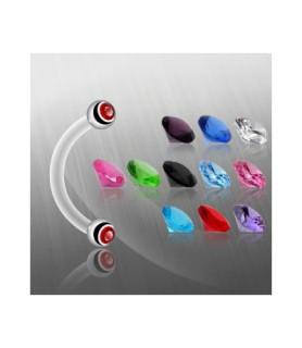 Fleksible bioflex øjenbrynspiercinger i 11 forskellige Zirconia farver