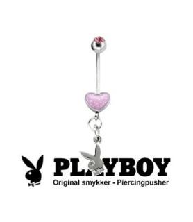 Smuk Playboy™ navlepiercing med pink hjerte og vedhæng.